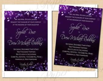 Purple Night Sky Wedding Invitations (5x7, Portrait): Text-Editable, Printable Instant Download