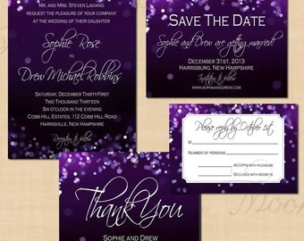 Purple Night Sky Save the Date, Invitation, RSVP, and Thank You Card Package: Text-Editable, Printable, Instant Download