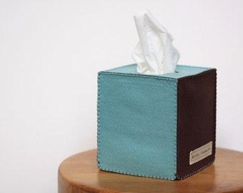 Nikkie's Simple Felt  Tissue Box Cover-Turquise & Dark Brown