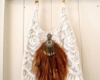 Feather purse lace up cycled jewelry