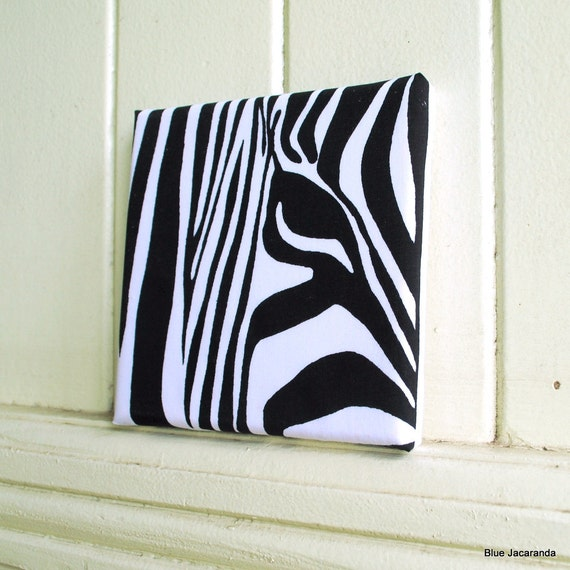 RESERVED FOR KATE -  Zebra Screen Print - Gallery Wrapped Canvas