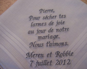 Father of the Bride Hankie in FRENCH