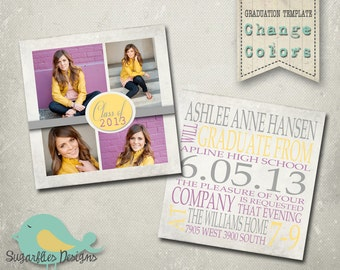 Graduation Announcement PHOTOSHOP TEMPLATE - Senior Graduation 22