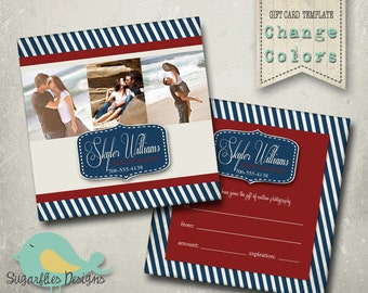 5x5 Gift Card Template -- Gift Certificate Nautical