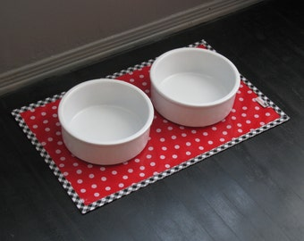 Red & White Polka Dot Pet Placemat with Black Gingham Border Splat Mat Pet Food Mat