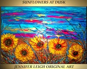 Original Large Abstract Painting Modern Contemporary Canvas Art Blue Yellow Purple SUNFLOWERS Sunset 36x24 Palette Knife Texture Oil J.LEIGH