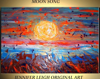 "Original Large Abstract Painting Modern Contemporary Canvas Art Blue Brown Orange Purple ""MOON SONG"" 36x24 Palette Knife Texture Oil J.LEIGH"