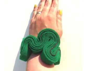 Felt Bracelet, Boho, Eco Jewelry, Recycled, Free Form, Green Felted Bracelet, Felted Jewelry, Ecofriendly,