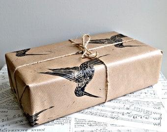 Hummingbird Rustic Lino Printed Wrapping Paper - One Sheet - 50 x 70 cms