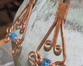 Copper Dangle Ocean Blue Earrings