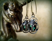 Antique Bronze and Emerald Green Crystal Scarab Beetle Earrings, Unique, Exotic, Rich Detail Front and Back, Gift For Her, Graduation Gift