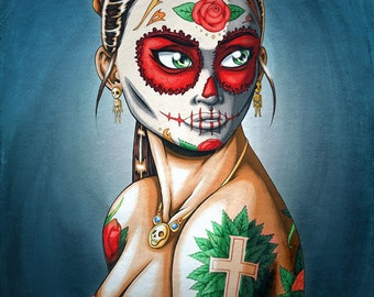 """8 x 10"""" Matted Day of the Dead Girl Art Print - """"Luna"""""""