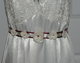 Handmade BURGUNDY and LIGHT ivory SASH belt roses flowers
