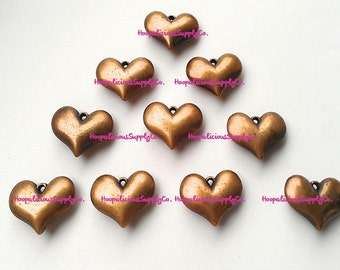 10 Rustic Heart Pendants. 3D Metallic Antiqued Heart Shaped Pendants for Crafting. Jewelry. YOU CHOOSE COLOR: Brass, Copper, Silver, Gold.