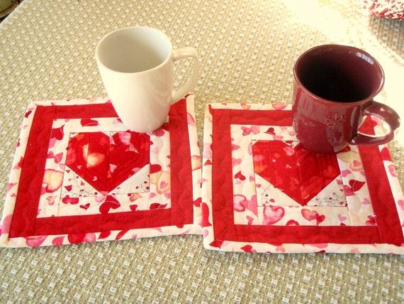 Valentine Quilted Mug Rug, Wall hanging, hot pad, wall hanging