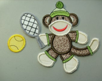 Sports sock monkey embroidered iron on applique or patch