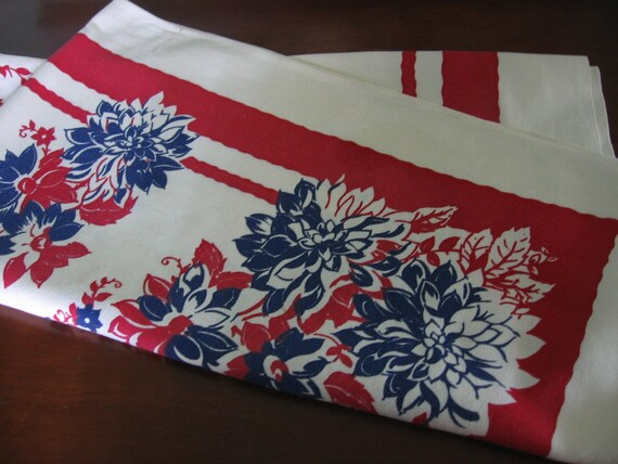Vintage Tablecloth Lipstick Red White And Blue Floral Bold
