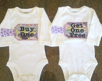 """Embroidered Baby Bodysuit set for Twins - """"Buy One, Get One Free"""""""