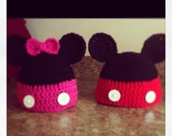Hand made Minnie & Mickey Mouse Hats