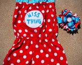 Dr. Seuss - Birthday Outfit - Boutique Girls Clothing - Cat in the Hat Romper - Miss Thing - Boutique Hairbow  3m 6m 9m 12m 18m 2T 3T 4T 5 6