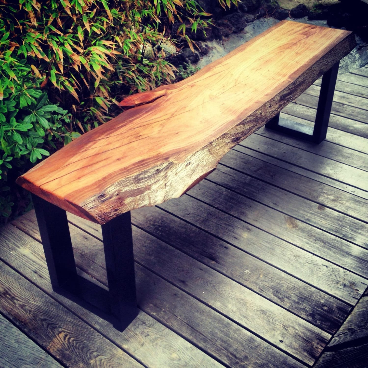 Modern Natural Live Edge Raw Edge Bench With By