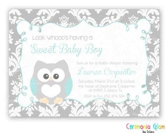 BABY SHOWER OWL damask and aqua printable invitation