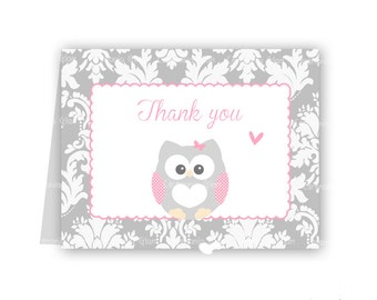 Baby shower thank you cards owl pink damask PRINTABLE