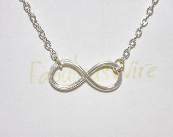 Infinity Necklace - Sterling Silver Wire Jewelry, Love Friendship Silver Necklace, Lovers, Couple, Friends Infinity Gift