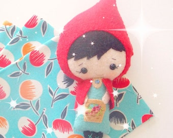 Little Red Riding Hood Doll - Small Felt Doll - Gingermelon Doll