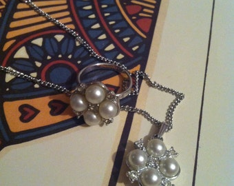 Vintage Silver Tone Faux Pearl Rhinestone Necklace & Ring Set Signed Sarah Coventry