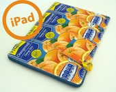 retro ipad cover, tablet case, xoom sleeve, nook color cover, orange juice, upcycled ipad sleeve, upcycled juice cartons