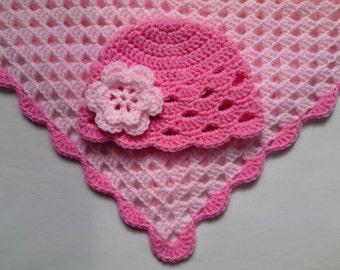 Crochet Baby Blanket and Baby Hat Set Gift Christening Baptism Girl baby pink beanie flower pink afghan