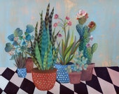 Desert plants garden - illustration - giclee print