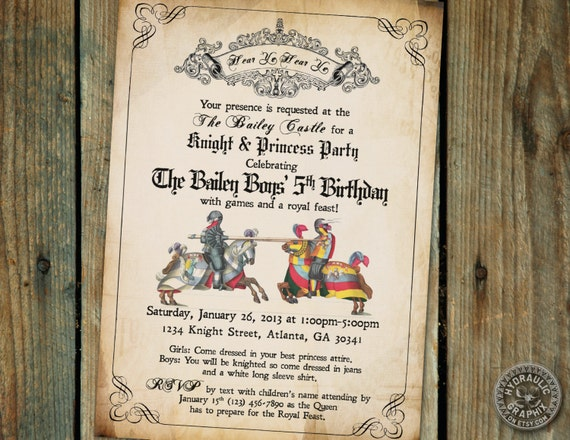 Medieval Times Printable Invitation for by HydraulicGraphix
