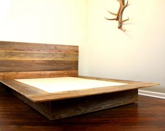 Reclaimed wood platform bed salvaged wood headboard for Custom made bed frame