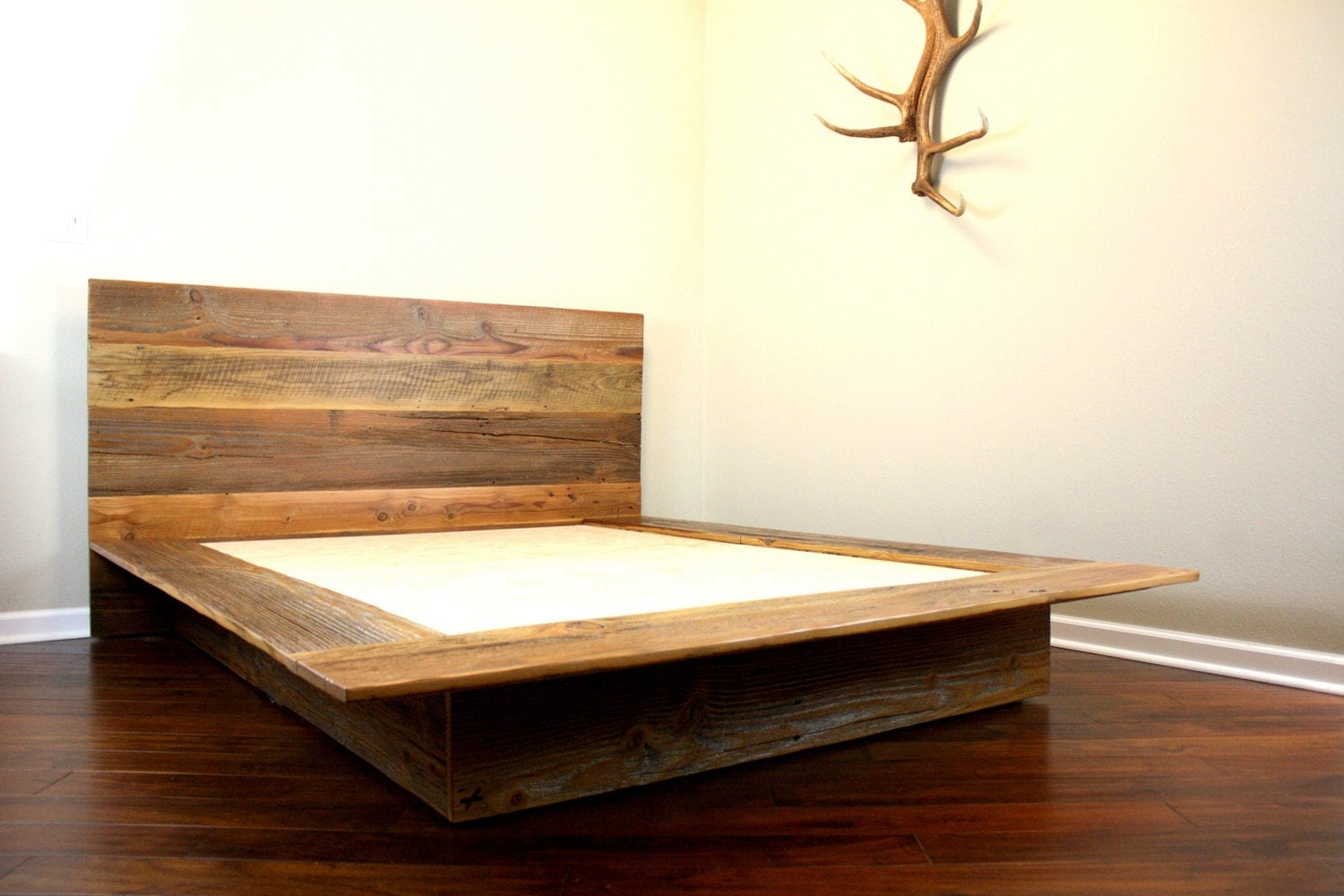 Reclaimed Wood Platform Bed // Rustic Modern Bed by weareMFEO