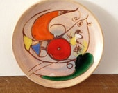 Beautiful bird ceramic plate signed Marie Christine Treinen from Vallauris 50's or 60's
