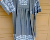 Hand made mou-mou style dress,  made in Guatemala,  100% cotton size large(old sizing)