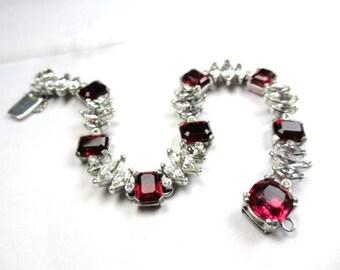 Ciner Bracelet Ruby Glass Rhinestone Retro Vintage Jewelry WINTER SALE