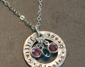 Personalized Hand Stamped Mother's Family Hammered Rustic Eternity Necklace  - Stamp Both Sides