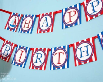 Nautical Birthday Party - DIY PRINTABLE Happy Birthday Banner - Instant Download - design by venspaperie - PS826CA1e