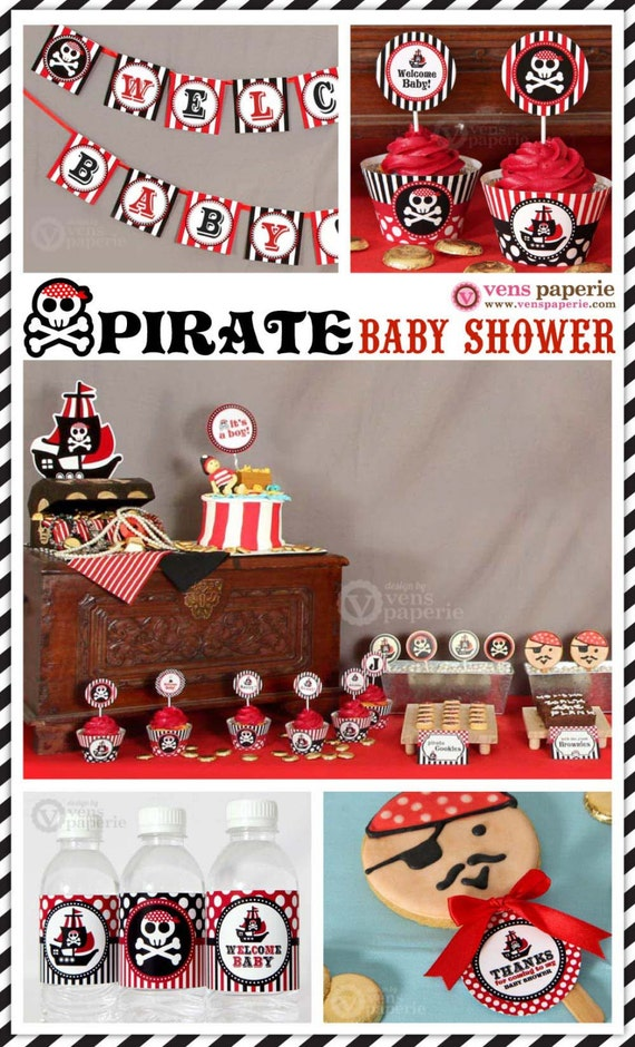 red pirate baby shower package personalized full collection set
