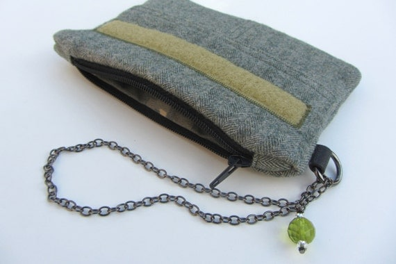 100% Upcycled Wool Wristlet - Small Rabble Rouser in Army Green with Nameplate and Camo Lining