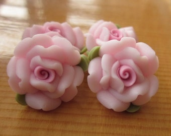 10 pcs 14 mm Polymer Clay Flower ,rose,Beads, FIMO, Pendant Charm craft jewelry Necklaces Earrings Bracelet Accessories - k19