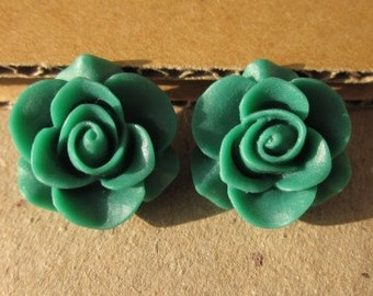 10 pcs 21 mm High-quality Resin flowers  Cabochon  Pendant Charm craft jewelry Necklaces,rings,earrings, by sunshinepark99- green
