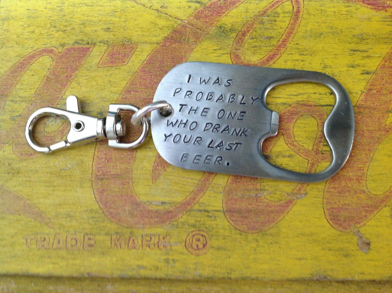 bottle opener keychain with custom message groomsmen dad gift. Black Bedroom Furniture Sets. Home Design Ideas