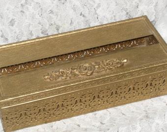 Vanity Gold Filigree Tissue Box Holder