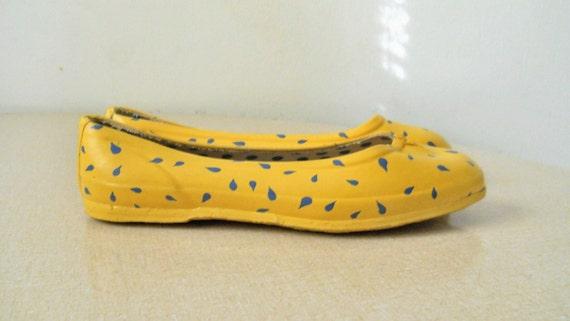 Rain Shoes Rubber Galoshes Rubber Shoes Wellies Duck Shoes Spring Shoes Womens Shoes Womens Yellow Shoes Flats Shoes Slip On Shoe Casual 6