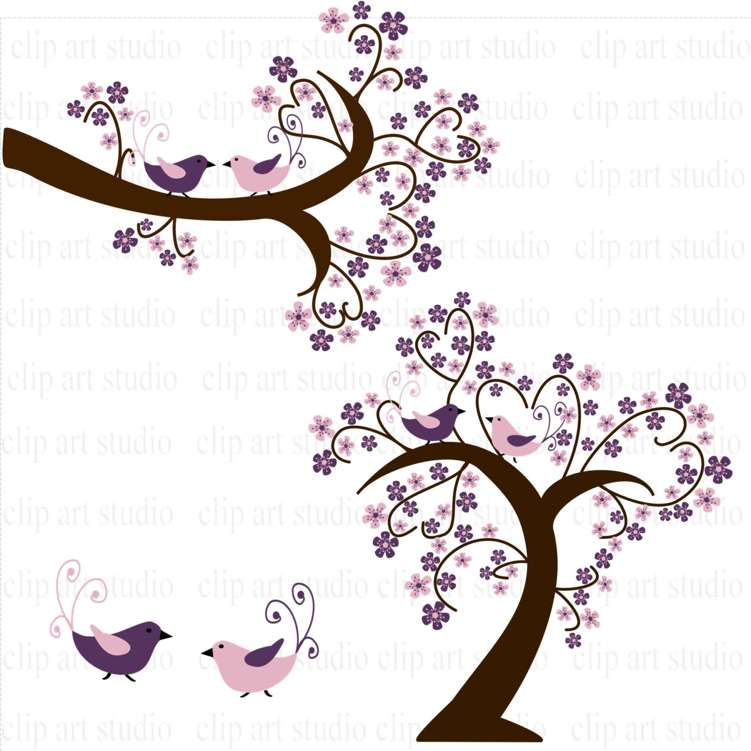 Wedding Tree and branch clipart with hearts flowers birds in