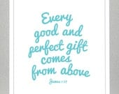 Nursery Decor - LOVE -  bible verse - James 1:17 ( you choose colors )